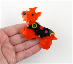 Lea Stein Kimdoo Dog Scottish Terrier Brooch Pin Orange Multi Model