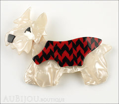 Lea Stein Kimdoo Dog Scottish Terrier Brooch Pin Pearly Cream Red Black Front