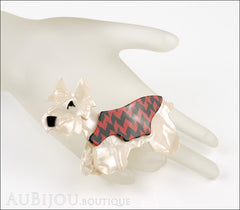Lea Stein Kimdoo Dog Scottish Terrier Brooch Pin Pearly Cream Red Black Mannequin