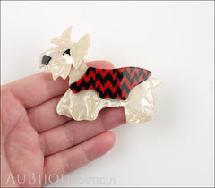 Lea Stein Kimdoo Dog Scottish Terrier Brooch Pin Pearly Cream Red Black Model