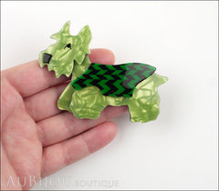Lea Stein Kimdoo Dog Scottish Terrier Brooch Pin Pearly Green Black Chevron Model