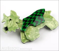 Lea Stein Kimdoo Dog Scottish Terrier Brooch Pin Pearly Green Black Chevron Side