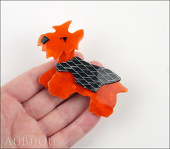 Lea Stein Kimdoo Dog Scottish Terrier Brooch Pin Pearly Orange Grey Model