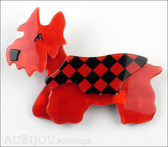 Lea Stein Kimdoo Dog Scottish Terrier Brooch Pin Red Black Checkers Front