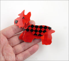 Lea Stein Kimdoo Dog Scottish Terrier Brooch Pin Red Black Checkers Model