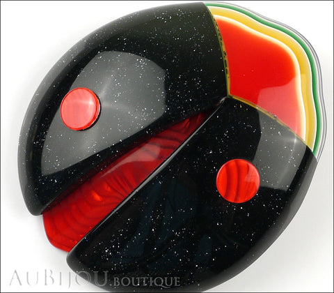 Lea Stein Lady Bug Brooch Pin Black Red Multicolor Gallery