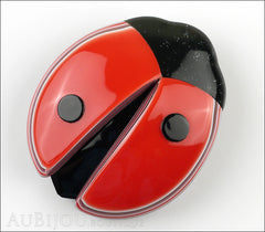 Lea Stein Lady Bug Brooch Pin Red Black Light Trim Front