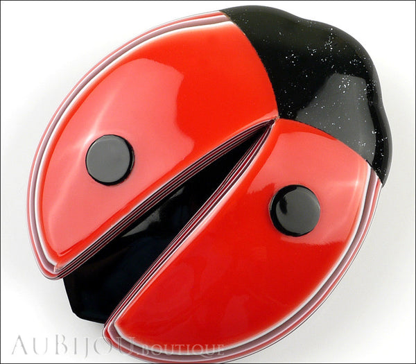Lea Stein Lady Bug Brooch Pin Red Black Light Trim Gallery