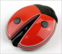 Lea Stein Lady Bug Brooch Pin Red Black Light Trim Side