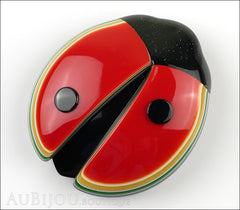 Lea Stein Lady Bug Brooch Pin Red Black Multicolor Trim Front