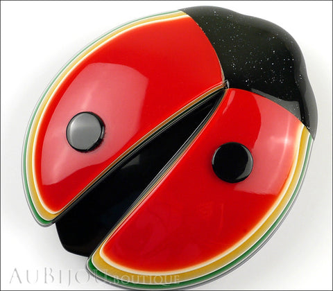 Lea Stein Lady Bug Brooch Pin Red Black Multicolor Trim Gallery