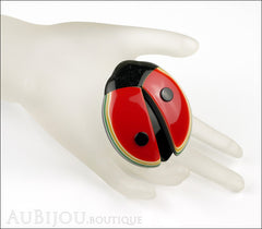 Lea Stein Lady Bug Brooch Pin Red Black Multicolor Trim Mannequin