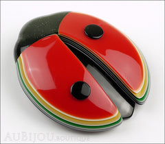 Lea Stein Lady Bug Brooch Pin Red Black Multicolor Trim Side