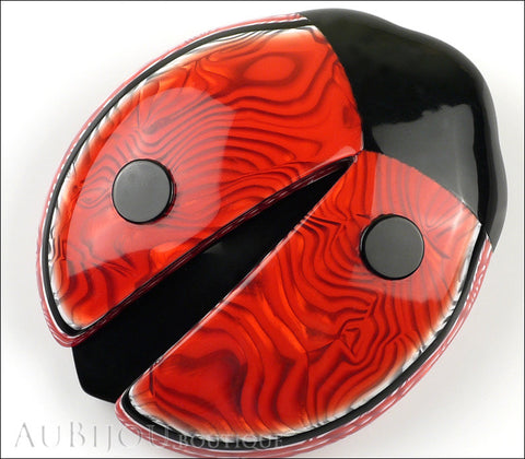 Lea Stein Lady Bug Brooch Pin Red Swirls Black Trim Gallery
