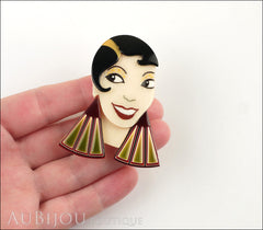 Lea Stein Lido Josephine Baker Brooch Pin Black Cream Burgundy Green Model