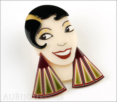 Lea Stein Lido Josephine Baker Brooch Pin Black Cream Burgundy Green Side