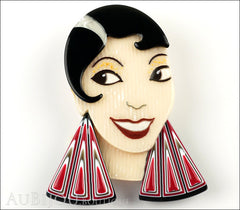 Lea Stein Lido Josephine Baker Brooch Pin Black Cream Red Front
