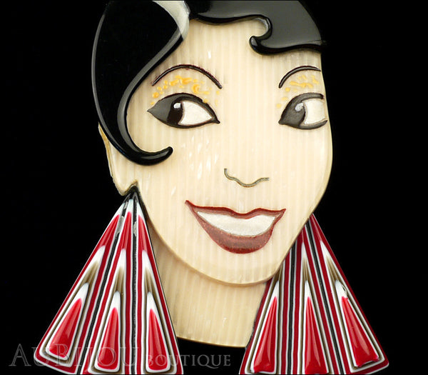 Lea Stein Lido Josephine Baker Brooch Pin Black Cream Red Gallery