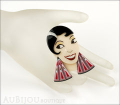 Lea Stein Lido Josephine Baker Brooch Pin Black Cream Red Mannequin
