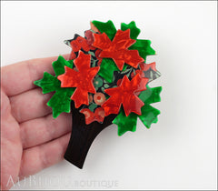 Lea Stein Maple Tree Brooch Pin Floral Green Red Model
