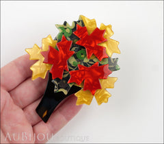 Lea Stein Maple Tree Brooch Pin Floral Yellow Red Model