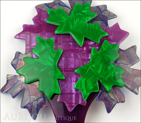 Lea Stein Maple Tree Brooch Pin Purple Green Gallery