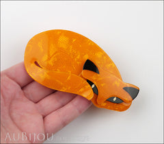 Lea Stein Mistigri The Cat Brooch Pin Orange Black Model