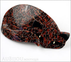 Lea Stein Mistigri The Cat Brooch Pin Tortoise Mosaic Black Side