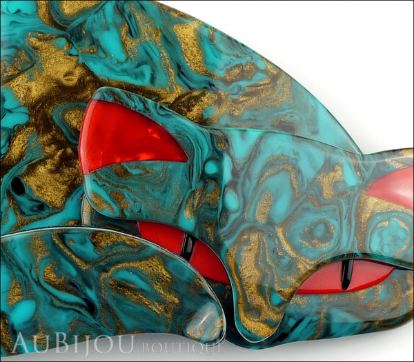 Lea Stein Mistigri The Cat Brooch Pin Turquoise Gold Red Gallery