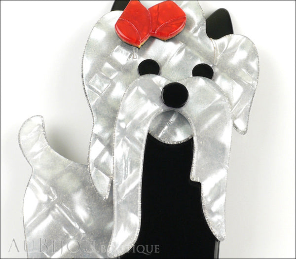 Lea Stein Moustache Dog Brooch Pin Pearly Grey Black Red Gallery