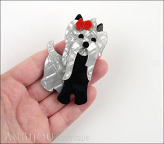 Lea Stein Moustache Dog Brooch Pin Pearly Grey Black Red Model