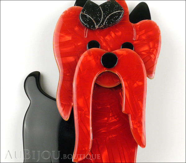 Lea Stein Moustache Dog Brooch Pin Pearly Red Black Gallery