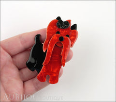 Lea Stein Moustache Dog Brooch Pin Pearly Red Black Model