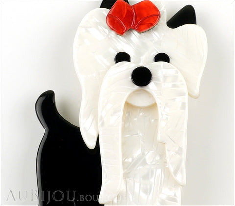 Lea Stein Moustache Dog Brooch Pin Pearly White Black Red Gallery