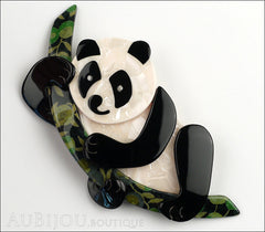 Lea Stein Panda Bear Brooch Pin Cream Black Floral 1 Front