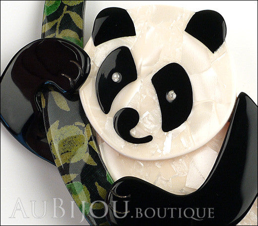 Lea Stein Panda Bear Brooch Pin Cream Black Floral 1 Gallery