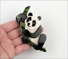 Lea Stein Panda Bear Brooch Pin Cream Black Floral 1 Model