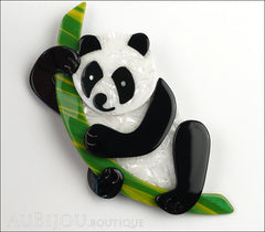 Lea Stein Panda Bear Brooch Pin Cream Black Green Front