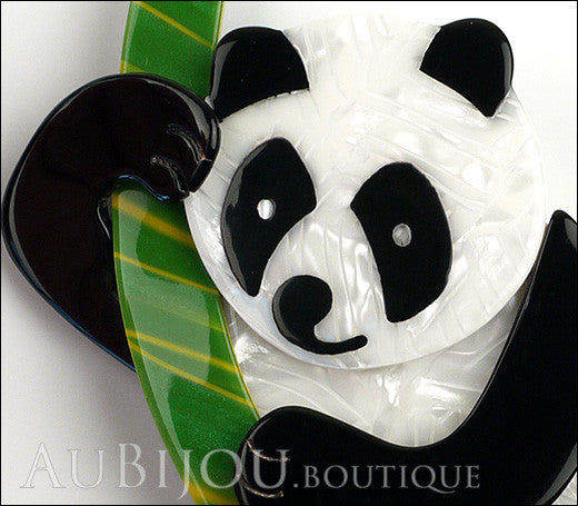 Lea Stein Panda Bear Brooch Pin Cream Black Green Gallery