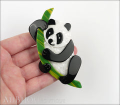 Lea Stein Panda Bear Brooch Pin Cream Black Green Model