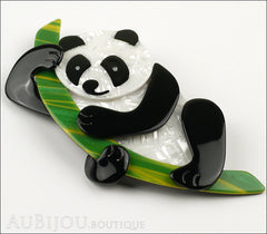 Lea Stein Panda Bear Brooch Pin Cream Black Green Side