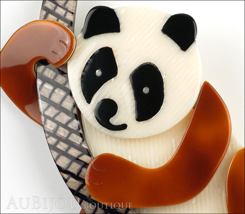 Lea Stein Panda Bear Brooch Pin Cream Caramel Black Beige Gallery