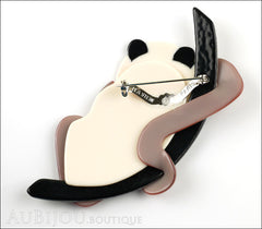 Lea Stein Panda Bear Brooch Pin Cream Black Beige Floral Back
