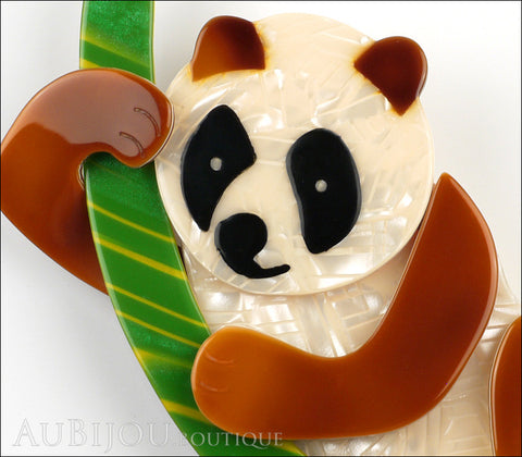 Lea Stein Panda Bear Brooch Pin Cream Caramel Black Green Gallery