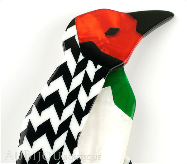 Lea Stein Penguin Brooch Pin Black White Chevron Red Gallery