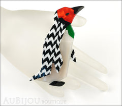Lea Stein Penguin Brooch Pin Black White Chevron Red Mannequin