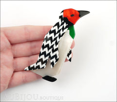 Lea Stein Penguin Brooch Pin Black White Chevron Red Model