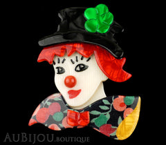 Lea Stein Petruschka Clown Brooch Pin Floral Red Green 1 Black