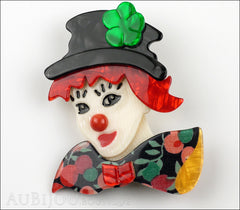 Lea Stein Petruschka Clown Brooch Pin Floral Red Green 1 Front