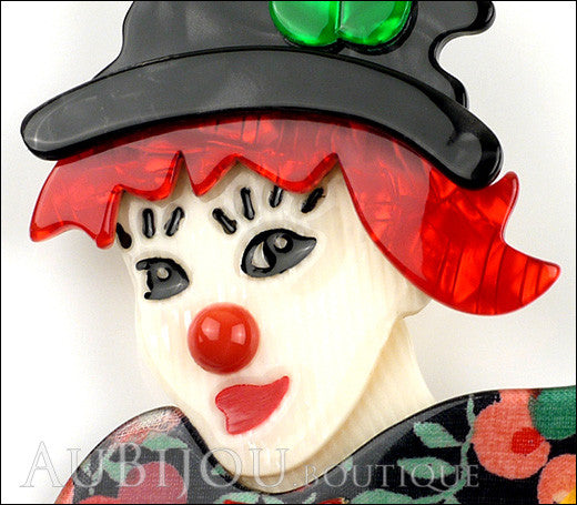 Lea Stein Petruschka Clown Brooch Pin Floral Red Green 1 Gallery